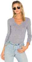 Monrow Jersey Long Sleeve V Neck Tee in Gray