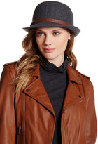 David & Young Cloche Faux Leather Band Hat