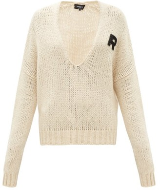 Rochas Monogram-applique Scoop-neck Sweater - Cream