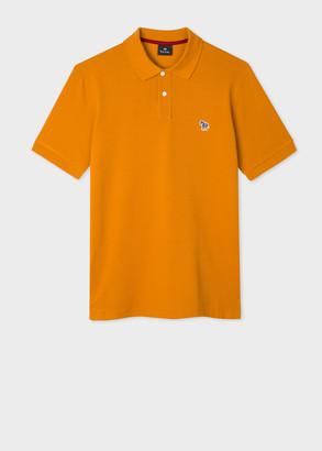 Paul Smith Men's Orange Organic Cotton-Pique Zebra Logo Polo Shirt