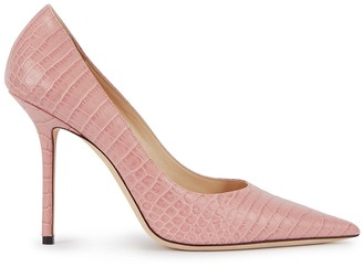 Jimmy Choo Love 100 rose crocodile-effect leather pumps