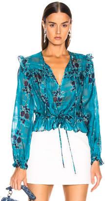Veronica Beard Kelly Blouse in Turquoise Multi   FWRD
