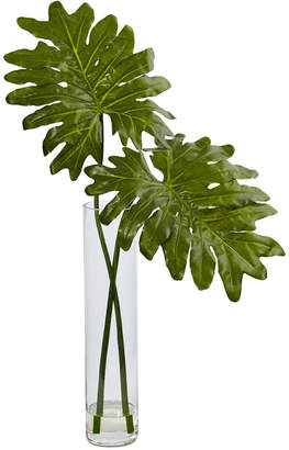 Nearly Natural Selloum Artificial Plant in Glass Cylinder Vase