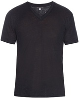 John Varvatos V-neck Linen T-shirt