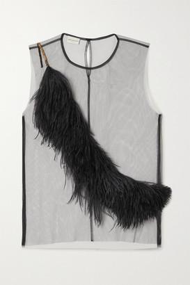 Dries Van Noten Feather-trimmed Tulle Top - Black