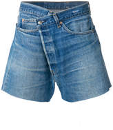 R 13 high waist raw cut shorts