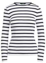 Ralph Lauren Striped Button-Shoulder Top White/Regal Navy M