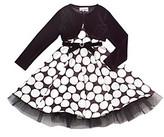 Rare Editions Girls' 2T-16 Black/White Polka-Dot Dress with Shrug