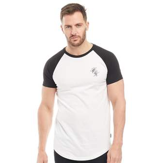 French Connection Mens Script Raglan T-Shirt White/Black