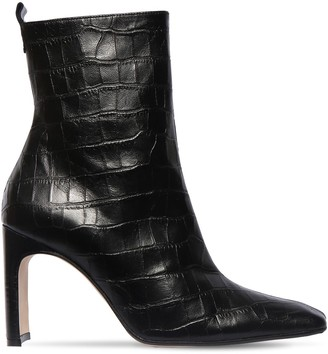 Miista 90mm Marcelle Croc Embossed Leather Boot