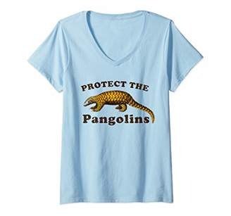 Womens Protect the Indian Pangolins Save the Animals V-Neck T-Shirt