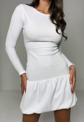 Missguided White Puffball Hem Mini Dress