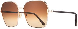 Tom Ford Claudia Geometric Metal/Acetate Sunglasses