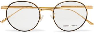 Bottega Veneta Round-Frame Tortoiseshell Acetate And Gold-Tone Optical Glasses