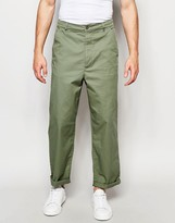 Asos High Waist Straight Leg Chinos In Light Khaki