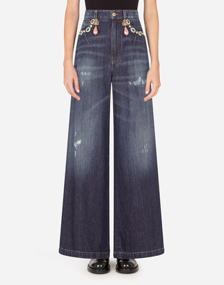 Dolce & Gabbana High-Waisted Dolce Jeans With Decorative Details