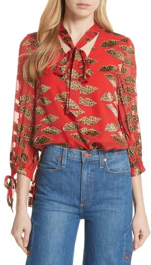 Alice + Olivia Leopard Lips Blouse