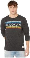 Original Retro Brand The Long Sleeve Vintage Tri-Blend Brooklyn Tee (Streaky Black) Men's Clothing