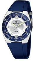 Calypso Men's Quartz Watch with Silver Dial Analogue Display and Blue Plastic Strap K6044/5