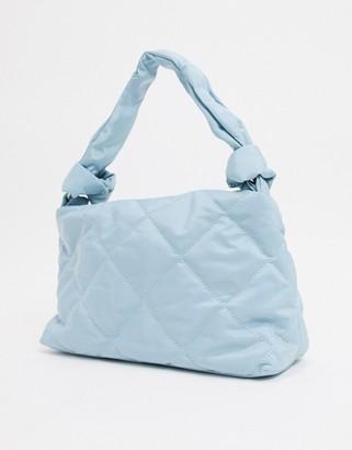 Bershka quilted shoulder bag in baby blue