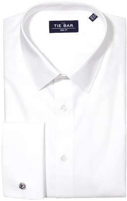 Tie Bar Pinpoint Solid - French Cuff White Non-Iron Dress Shirt