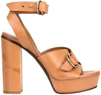 Chloé Platform Buckled Leather Sandals Brown