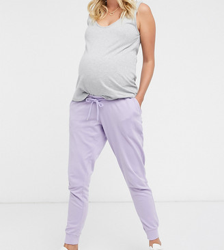 ASOS DESIGN Maternity mix & match washed basic jogger with tie in lilac