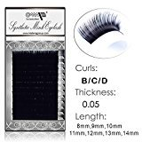 MOP Semi Permanent Individual Eyelash Extension Mink Silk 3D 6D 9D Volume B/C/D Curl .05 thickness ( 8mm-14mm) /12 Rows/tray (B Curl -8mm)