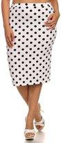 Fashion Stream Women's Plus Size Polka Dot Print Pencil Skirt MADE N USA