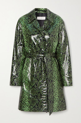 Dries Van Noten Snake-print Coated Cotton-blend Trench Coat - Green