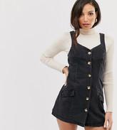 Asos Tall DESIGN Tall denim button pinafore mini dress in black