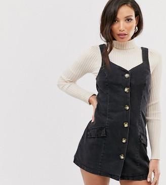 Asos DESIGN Tall denim button pinafore mini dress in black