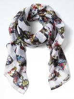 Banana Republic Floral Stripe Large Square Scarf