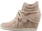 Ash Bowie Suede & Canvas Wedge Sneaker, Chamois