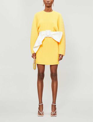 SOLACE London Bow-belt pleated woven mini dress