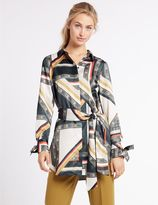 Marks and Spencer Geometric Print Longline Long Sleeve Shirt