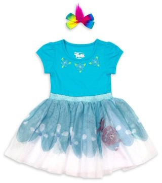 Trolls Toddler Girls Cosplay Tutu Dress & Headband, 2pc Set (4T-5T)