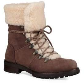 UGG Fraser Shearling and Suede Combat Booties