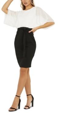 Quiz Two-Tone Sheer Sleeve Dress