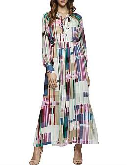 Oxford Montobello Stripe Print Maxi Dress