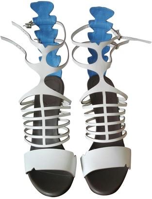 Fendi White Leather Sandals