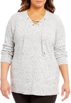 Calvin Klein Plus Lace-Up V-Neck Drop Shoulder Flecked Knit Sweater