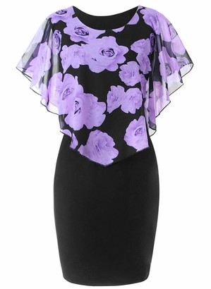 DELEY Women's Rose Printed Bodycon Dress Ladies Evening Party Casual Dresses Plus Size Blue Size 5XL