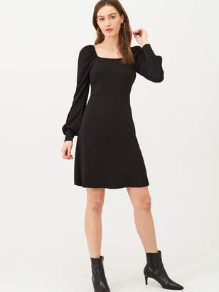 Very Square Neck Jersey Mini Dress - Black