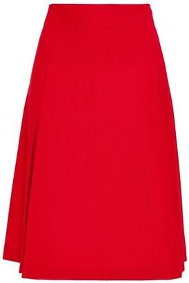Piazza Sempione Flared Pleated Stretch-twill Skirt