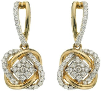 Love Diamond 9 Carat Yellow Gold 33 Point Diamond Infinity Crossover Earrings