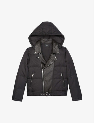 The Kooples Biker leather-detail padded down jacket