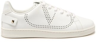 Valentino Perforated V-logo Leather Trainers - White