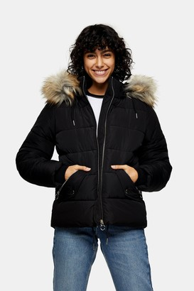 Topshop Womens Black Padded Puffer Jacket With Faux Fur - Black