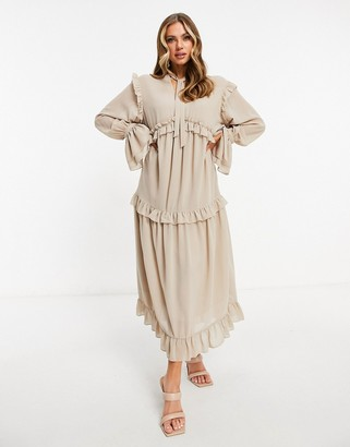 Pretty Lavish ruffle midaxi smock dress with ruffle detail in beige